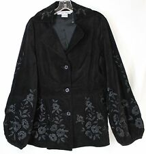 NWT Dizzy Lizzy Women's Medium Black Button Up Embroidered Floral Velvet Jacket