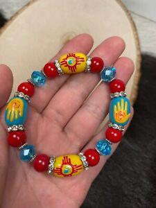 Zia Bracelet Southwestern Jewelry New Mexico Style Turquoise Stretch Bracelet