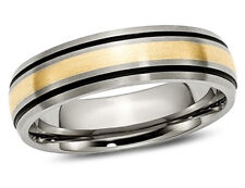Mens 6mm Titanium Wedding Band with 14K Gold Inlay