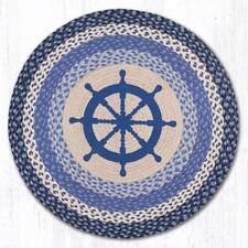 Nautical Ship S Wheel 100 Natural Braided Jute Rug 27 Round Earth Rugs