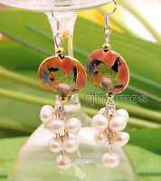 SALE 6-7mm Round White Natural Pearl & 18mm Pink Cloisonne Dangle earring-ear516