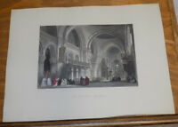 1845 Antique COLOR Print///THE CATHEDRAL ANGOULEME, FRANCE