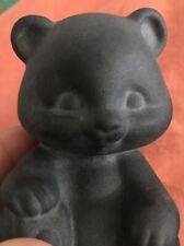 FENTON Glass Sitting Bear - Satin Black - (ZZ)