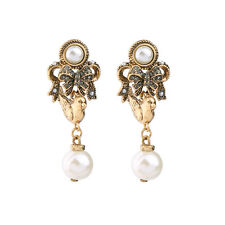 Boucles d`Oreilles CLIP Doré Chandelier Oiseau Noeud Papillon Perle Baroque X20