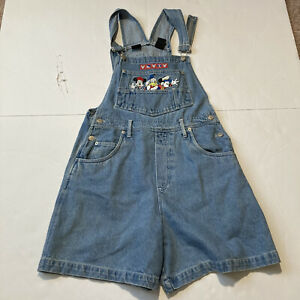 Vintage 80s MICKEY Mouse UNLIMITED Disney Blue Denim Bib OVERALL SHORTS Womens M