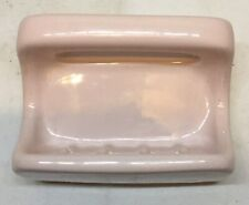 Vtg Mid Century PINK PORCELAIN CERAMIC Soap Dish Wall Mount w Grab Bar