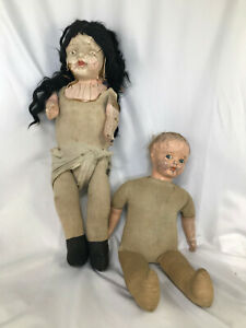 Pr of Antique composition dolls for PROJECT or Halloween Mods. Super creepy