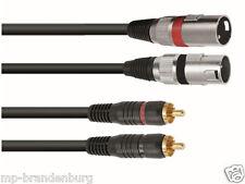 Adapter Kabel 2 x Cinch auf  2 x XLR -3m - Cinchstecker aus Kuststoff
