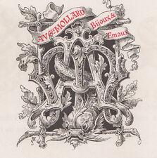 Monogramma, cifra, lettere MOLLARD  bulino del 1882