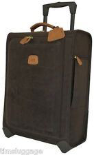 "Bric's Life 21"" Wheeled Carry-On Upright Trolley Rolling Suitcase Leather Trim"