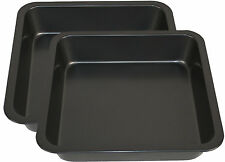 Set Of 2 Large Non Stick Carbon Steel Square Cake Tin Pie Baking Roast Pan Trays