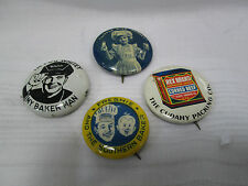 4 Vint. Bakery Related Metal & Celluloid Pin Backs-Rex Brand, Little Miss Junket