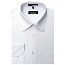 Mens Dress Shirt Plain White Modern Fit Wrinkle-Free Cotton Blend Amanti Spread