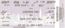 SEPTEMBER 16 2006 WIDESPREAD PANIC RADIO CITY MUSIC HALL NYC UNUSED TICKET STUB