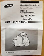 SAMSUNG 5900 SERIES VACUUM CLEANER OWNER'S MANUAL, ASSEMBLY SERVICE INSTRUCTIONS