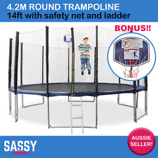 Round Trampoline 4.2m 14ft W/Safety Net Ladder Pad Springs BONUS Basketball Hoop