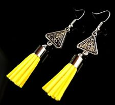 1 Pair of Antique Tibetan Style Dangle Earrings with Yellow Suede Tassels #1100