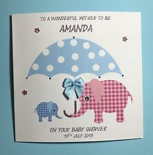 Elephant baby shower handmade card for mum to be- pink and blue, baby boy/girl