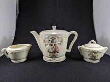 Vintage Girls and Flowers Porcelier Teapot, Sugar/Creamer Set