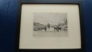 Francis Seymour Haden Egham Lock,signed in pencil  and plate,1859 museum Framed