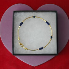"Beautiful Gold Plated Bracelet With Faceted Sapphire Gemstone 8"".5 Inch Long"