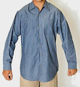 Auto Work Shirt Mens Striped Long Sleeve Auto Mechanics, Industrial uniform