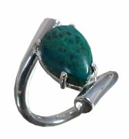 Handmade 925 Solid Sterling Silver Ring Natural Chrysocolla Stone US Size 7 R908