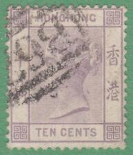 Hong Kong Scott #42 used 10c Queen Victoria lilac 1882 wmk 2 CA cv $21