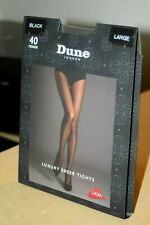 DUNE of London Luxury Sheer Tights + lycra 40 Denier Black new sealed sleeve L