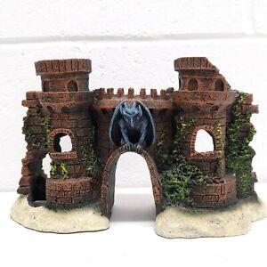 """Aquarium Castle Ruins w/ Gargoyle Polyresin 5.5"""" Tall x  9"""" Wide"""
