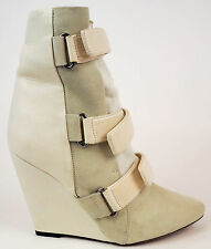ISABEL MARANT RUNWAY Ivory Leather Suede Pony Hair Wedge Boots EU38 US7.5 $1560