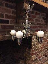 Mid Century Modern MCM Atomic Chrome Hanging Light Fixture Lamp