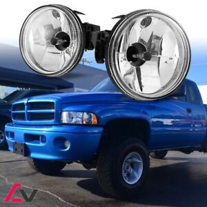 99-02 For Dodge RAM Clear Lens Pair Bumper Fog Light Lamp OE Replacement DOT