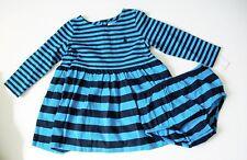 Ralph Lauren Baby Girls Striped Long Sleeve Dress Caribbean Blue Multi Sz 3M-NWT