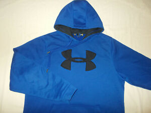 UNDER ARMOUR ROYAL BLUE HOODED SWEATSHIRT MENS LARGE EXCELLENT CONDITION
