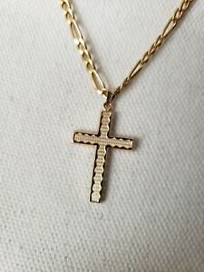 """10k Solid Gold Chain with 14k Cross Pendant 5 Grams 20"""""""