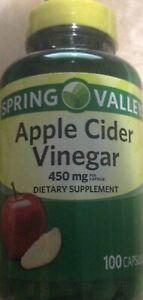 Spring Valley Apple Cider Vinegar 450 Mg 100 Capsules Exp 11/22