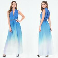 BEBE BLUE OMBRE DEEP V HIGH SLIT GOWN DRESS NEW NWT SMALL S 6