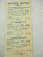 Palace Hotel Brussels Belgium In Room Rate Card January 1953