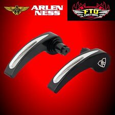 Arlen Ness Saddlebag Lid Latch Covers Deep Cut Black 2014-up Harley FLT 03-335