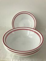 """4 Pc. Corelle Classic Cafe Red Soup Cereal 6.25"""" Triple Red Stripes."""