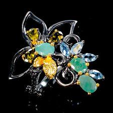Vintage Natural Emerald 925 Sterling Silver Ring Size 8.5/R108548