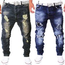 Men's Jeans Pants Designer Destroyed Stretch Harem Slim Denim Washed New