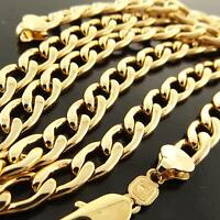 Necklace Chain Genuine Real 18k Yellow Gold G/F Solid Men's Cuban Link Design