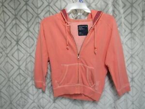 American Eagle Hoodie Size S Petite Light Orange Open Front Zipper Hood Casual