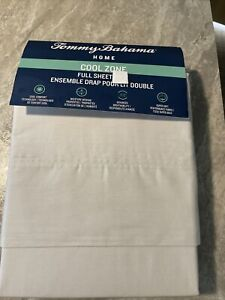 TOMMY BAHAMA Cool Zone Moisture Wicking Soft Cotton Full Flat Sheet NEW