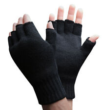Mens 3M Thinsulate 40 gram Thermal Insulated Winter Knit Black Fingerless Gloves