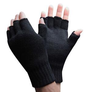 Mens 3M Thinsulate 40 gram Thermal Insulated Winter Knit Black Fingerless Gloves