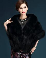 Women's fashion fur cape shawl jacket thick fur collar Cloak coat Fur vest parka