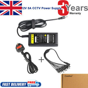 DC 12V 5A Power Supply Adapter +8 Split Power Cable for Lorex Swann QSee Sannce